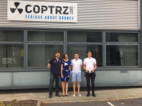 (L-R) Steve Coulson, Director; Julie Bowler, Corporate Relationship Director HSBC; Paul Luen, Drone Overlord and Sam Denniff, Drone Ninja at Coptrz.