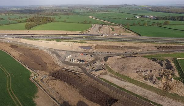 Aerial view of St Leonard's Underpass (under construction) next to the A1