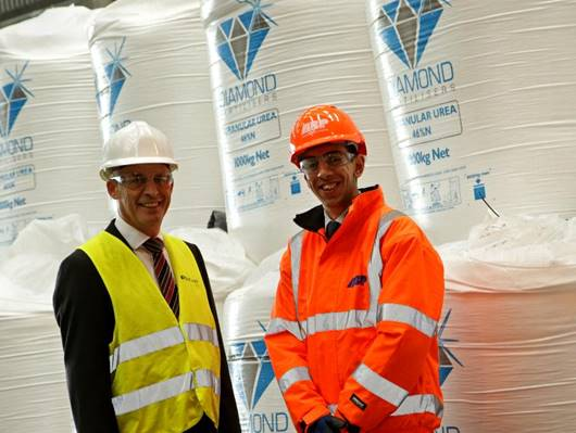 Managing Director of Thomas Bell and Sons, Andrew Major with ABP Commercial Manager Chris Vause at Immingham Bulk Park (image courtesy of ABP / David Lee Photography