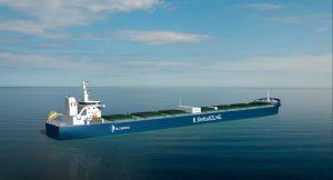 Visualisation of Project Forward LNG-fueled bulk carrier. Image credit: Deltamarin