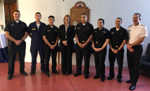 Engineer Fernanda Billard, Rector of the International Maritime University of Panama and Rear Admiral Francis X. McDonald, President of the Massachustts Maritime Academy, with Panamanian cadets attending MMA at this time