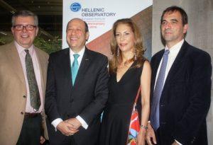 Prof Kevin Featherstone, High Commissioner Evriviades, Antigoni Solomonidou Droussiotou, and Dr Spyros Economides.