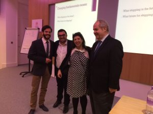 Prof. Thanopoulou flanked by Constantionos Pallis and Michael Matthaiakis on her left and Prof. Costas Grammenos on her right