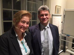 Katerina Nomikou with HESGB president Dimitris Monioudis