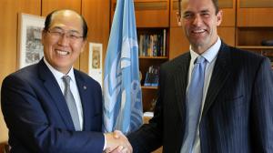IMO Secretary-General Kitack Lim and Operation Commander Major General Rob Magowan of the EU Naval Force Operation Atalanta