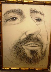 Luciano Pavarotti. Pencil on Fabriano paper.