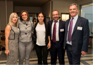 Helen Yacoumis of North (left); Vivi Kolliopoulou and Katerina Panagiotopoulou of Thenamaris Ship Management Inc; and Kostas Katsoulieris and Tony Allen of North at North's Greek reception on 11 October 2016