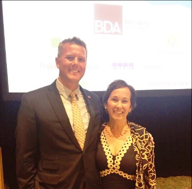 BDA Business Development Manager Sean Moran with Hedge Connection CEO Lisa Vioni
