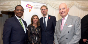 l to r: Arnold Ekpe, Karen Taylor, Tobias Ellwood MP (Minister for Africa) and David Lamb