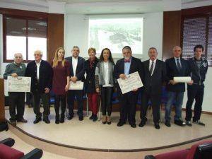 The awarded and their sponsors with Mrs. María Ramallo, Mayor of Marín
