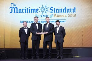 Goran Eriksson, General Manager – Shipping Services at GAC Dubai collects the Ship Agent Award on behalf of the GAC Group at the MSA gala, held at Dubai's Atlantis The Palm hotel.