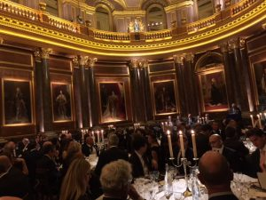A panoramic view of the dinner hall