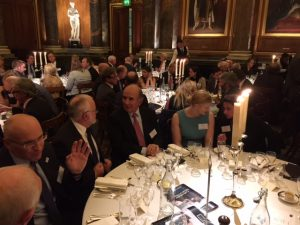 During hte dinner: at the centre, Peter Hinchliffe talking to Mathew T. Los; to the right Emily rowley and Helen Kelly