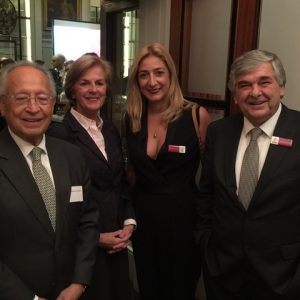 Radm (Rt) Thmio E. Mitropoulos, Emeritus Secretary-General of the IMO, mrs. Chantal Mitropoulos, with Paillette Palaiologou and Lambros Chahalis from Bureau Veritas
