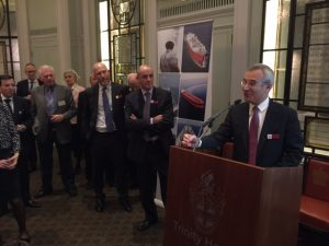 .... Speaking to the guests. To his left are Philippe Boison, Nicholas Brown and at the far left BV's London office manager Yanni Kalogeras.