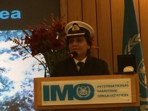 Captain Radhika Menon addressing the delegates and guests