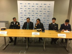 From the Press Conference on a l to r: Shri B.M. Das, India's Acting High Commisioner Dinesh Patnalk, Captain Radhika Menon, Assistant Inspector Kang Seonggyu, and his interpreter