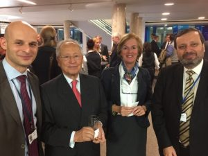 Intercargo's Secretary General Dr. Kostas Gkonis, Radm (HCG) Efthimios E. Mitropoulos former Secreatry-general of the IMO, Mrs. Chantal Mitropoulos and Prof. Nikitas Nikitakos