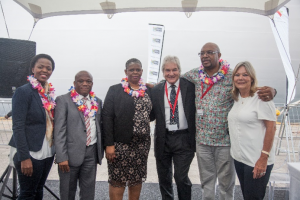 Pictured at the official launch of the 2016/17 South African cruise season at the Port of Durban on 1 November were (left to right) Dumile Cele, CEO of Durban Chamber of Commerce & Industry; Sihle Zikalala, KZN MEC for Economic Development, Tourism & Environmental Affairs,; Her Worship the Mayor of eThekwini Municipality, Zandile Gumede; Alan Foggitt, MSC Cruises Marketing Director; Moshe Motlohi, Port Manager for the Port of Durban and Daphne Osborne, CEO of MSC Cruises South Africa.