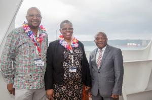 Durban Port Manager Moshe Motlohi; Her Worship the Mayor of eThekwini Municipality, Zandile Gumede, and Sihle Zikalala, KZN MEC for Economic Development, Tourism & Environmental Affairs aboard MSC SINFONIA.