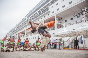 MSC Simfonia was welcomed to Durban by marimba bands and traditional dancers.