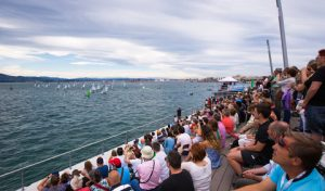 Spectators watch on the Duna at the 2014 Santander Worlds