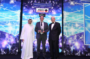 The Seatrade Maritime Awards Middle East 'Technical Innovation Award', sponsored by Arab Shipbuilding & Repair Yard (ASRY), was awarded to Wärtsilä. The award was presented by H.E. Shaikh Daij Bin Salman Al Khalifa, Chairman, Arab Shipbuilding & Repair Yard (ASRY) to Mr Seppo Hautajoki, Managing Director, Wärtsilä UAE. accompanied by Mr Chris Hayman, Chairman, Seatrade.