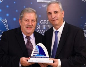 10Mr. Vassilios Papageorgiou accepting the Technical Achievement Award from Mr. Loizos Isaias of sponsor DNV GL.