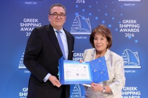 Mr. George D. Pateras of the Hellenic Chamber of Shipping presenting the Lloyd's List Greek Shipping Awards annual donation to ARGO, accepted by Mrs. Despina Papastelianou.