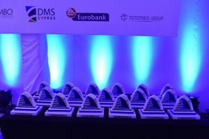 The 17 trophies awaiting the winners of the 2016 Greek Shipping Awards.