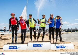 From the 470 women's race - winners on hte podium