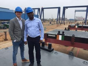 Client with Damen Sales Manager at the shipyard