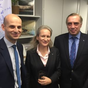 INTERCARGOES  Secreatry General Dr. Kostas G. Gkonis, with Katharina Stanzel - Managing Director and Nicholas Tsakos - Chairman, from INTERTANKO