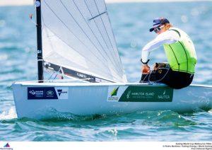 Jake Lilley leads in the Finn fleet
