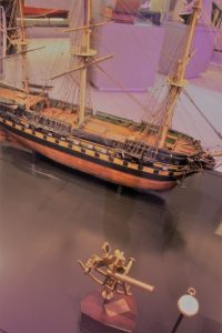 East Indiaman with sextant and pocket chronometer