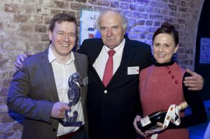 Gary Howard, News Editor, Lloyd's List, Eric Derrer, Honorary Member, and Helen Kelly, Europe Editor-in-Chief, Lloyd's List, winners of the Feature Journalist Award.