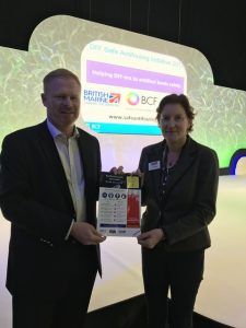 Trevor Fielding, the BCF's Regulatory Affairs Manager, and Sarah Dhanda, British Marine's Chief Officer of Membership & Services, at the launch of the DIY Safe Anti-fouling Initiative